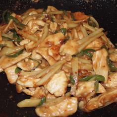うちの夕飯 鶏の甘辛味噌炒め