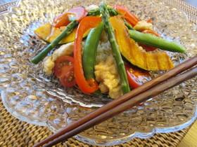 チキンと蒸し野菜のクスクス和風サラダ
