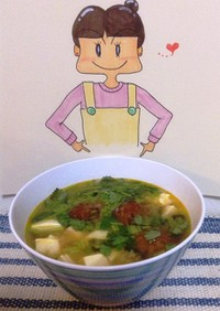 トマト味噌とにんにくジャムのスープ