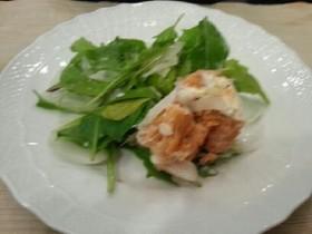 色合いきれい♪簡単鮭缶と玉ねぎのサラダ