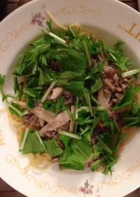 牛挽肉と笹がき牛蒡の和風スパゲッティ