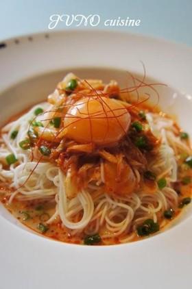 暑くてメンドクサイ日の超簡単キムチ素麺