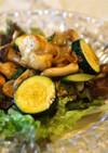 ズッキーニと胸肉のカレー醤油サラダ仕立て