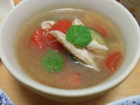 ささみとズッキーニの冷たいスープ