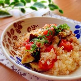 ✿トマトと茄子のピリ辛冷やし素麺✿