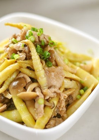 姫竹と★お肉の★オイスターソース炒め