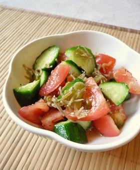 トマトときゅうりのジャコサラダ