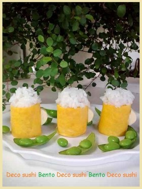 夏のデコ寿司☆卵焼きでビール寿司☆父の日
