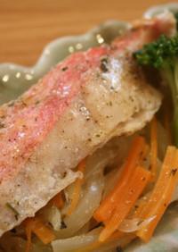 NZ産金目鯛のレモンガーリック蒸し