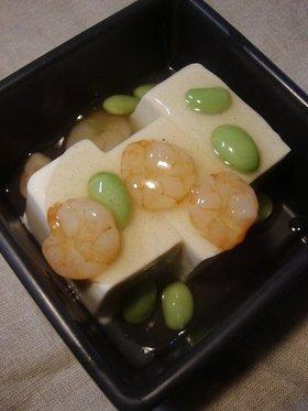 お豆腐の海老と枝豆あんかけ