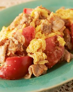 豚肉とトマトと卵のシンプル甘酢炒め