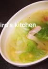 レタスとベーコンのコンソメスープ