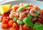 そら豆とエビのトマトドレッシングサラダ