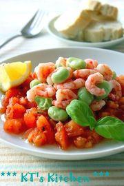 そら豆とエビのトマトドレッシングサラダの写真
