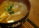 もやしと玉ねぎと大根と豆腐のお味噌汁