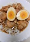 鶏肉角切りと茹で卵の親子煮