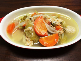 コンソメいらず☆しらすとツナの野菜スープ