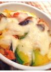 ナスと韓国カボチャのチーズ焼き