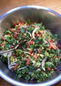 うずら豆、香菜、ピーマンと玉葱のサラダ