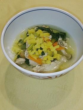 鶏肉と小松菜と漬物の優しい雑炊