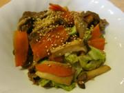 NZ産ラム肉の甘辛野菜炒めの写真