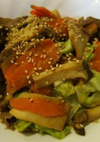 NZ産ラム肉の甘辛野菜炒め