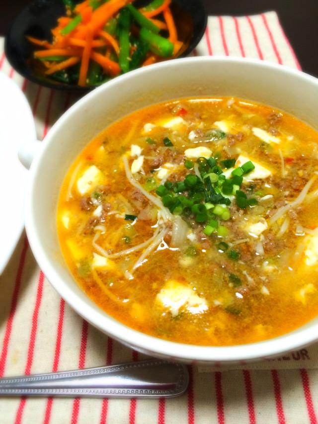 【話題入り】崩し豆腐のピリ辛スープ