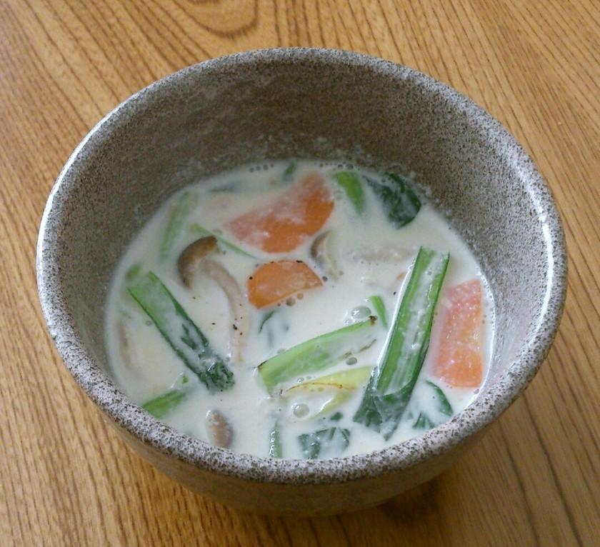 貧血対策♡小松菜としめじの豆乳スープ