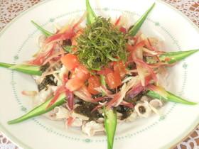 夏野菜の黒ゴマ冷しゃぶ