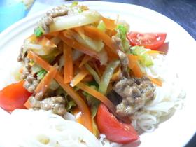 素麺の人参とキャベツのナムル&納豆のっけ
