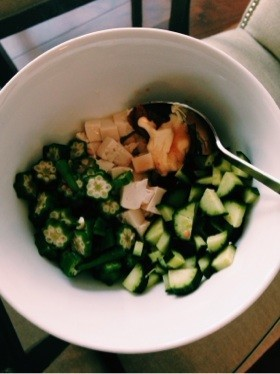 ローカロリーダイエット豆腐とオクラサラダ