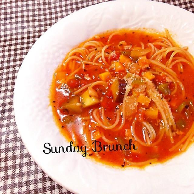 麺の別茹で不要♪簡単トマトスープパスタ