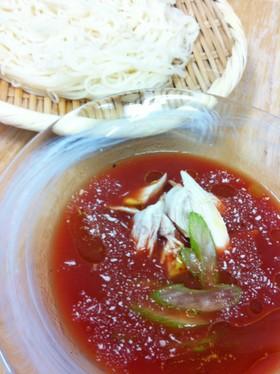 トマトジュースで!イタリアン素麺