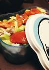 トマトアボカドピーマンナス肉サラダ