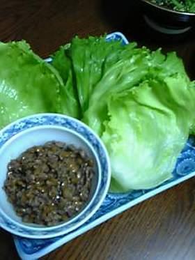 甘辛納豆のレタス包み