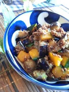 茄子とカボチャ๑挽肉味噌そぼろ✿
