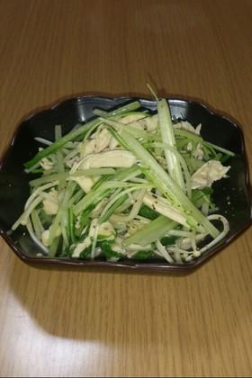 ささみと水菜オリーブオイル炒め