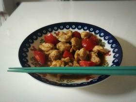 さっぱり!鶏ももトマトの酢醤油炒め♬。•