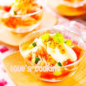 七夕祝い☆トマトとチーズの冷製そうめん