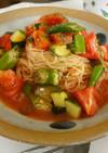 彩り夏野菜マリネの冷製パスタ