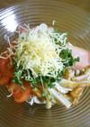 大蒜トマト蕎麦♪茗荷サーモン竹輪チーズで