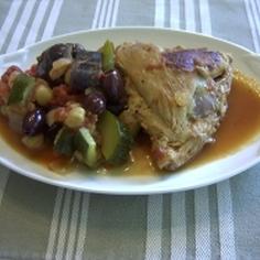 地中海風鶏と夏野菜の煮込み