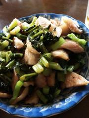 野沢菜と豚トロの写真