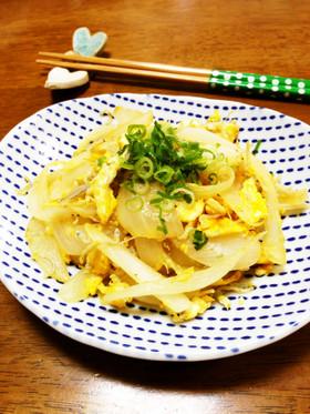 玉葱としらすと卵の塩炒め