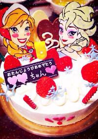 誕生日ケーキ☆アナと雪の女王デコチョコ
