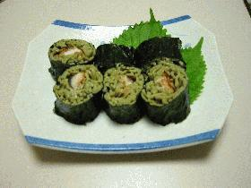 鰻の茶蕎麦寿司
