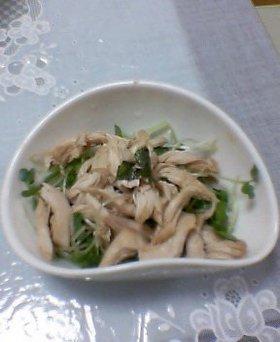 大葉にんにく醤油でささみサラダ