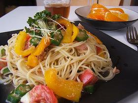 ツナと彩り野菜の和風冷製パスタ