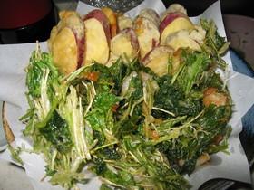 水菜と三つ葉とえびのかき揚げ