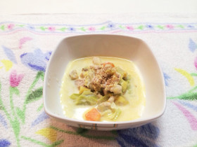 犬のご飯♡チキン豆乳スープ